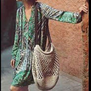 Anthropologie Tiny Caviana Shirt Dress Green Print